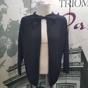 Zara Knit Tie Front Black Sweater Size L